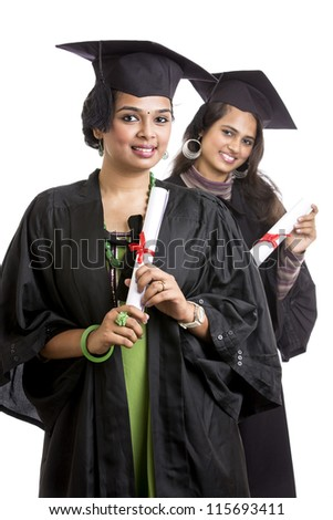 Indian graduation young woman's on white background. - stock photo