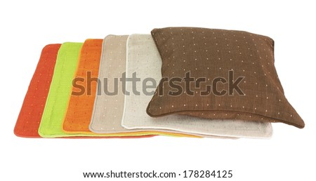 indian hand made cotton pillowcases and cushions - stock photo