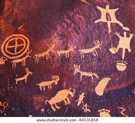 Indian hieroglyph  in Newspaper Rock, Utah ,USA - stock photo