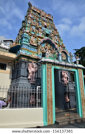 Indian Hindu Temple in Chinatown, Singapore - stock photo