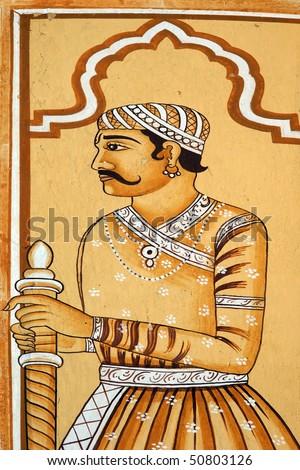 Indian historic warrior painting - stock photo