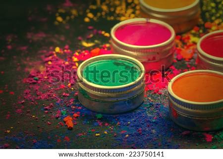 Indian Holi festival colours. Toned image - stock photo