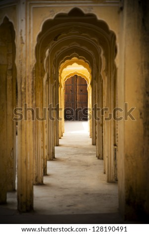Indian interior, corridor with columns, Jaipur