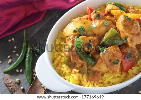Indian Jalfrezi curry with pilau rice