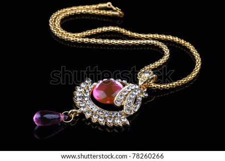 Indian Jewellery Necklace Closeup - stock photo