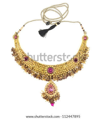 Indian jewelry isolated on a white background - stock photo