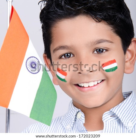 Indian kid with india flag - stock photo