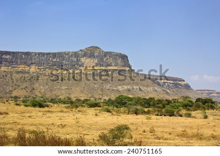 Indian landsape, rocky hill in the state Maharashtra