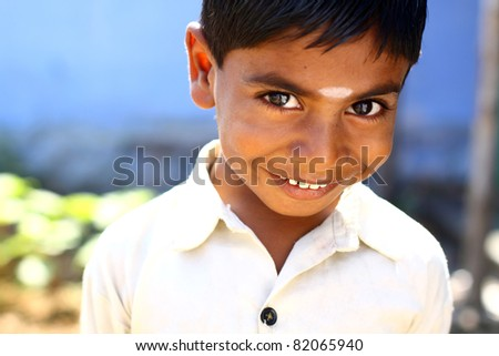 Indian little boy with happy expression. - stock photo