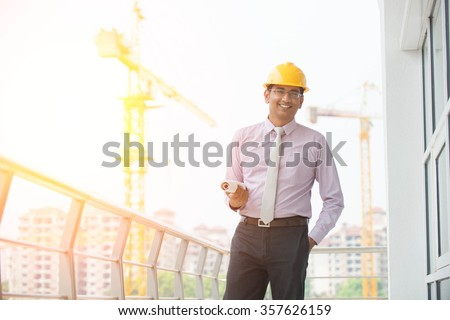 indian male architect outdoor - stock photo