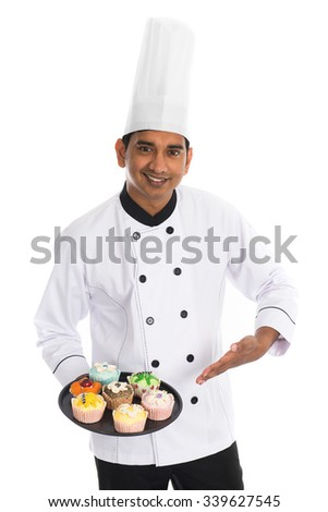 indian male chef - stock photo