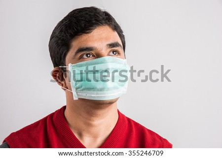 indian man wears mask, asian man wearing medical mask, young indian man wearing protective mask isolated on white background, man with medical mask, doctor with surgical mask, indian doctor with mask