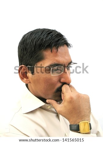 Indian man with deep thought - stock photo