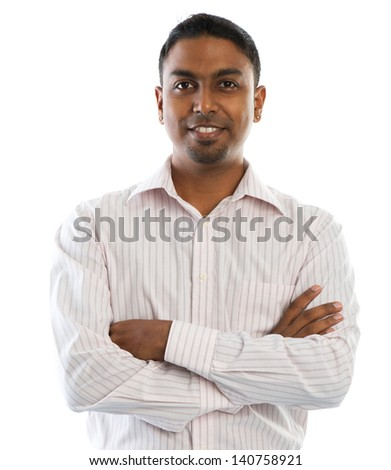 Indian man. Young good looking Indian people smiling, standing isolated on white background. - stock photo
