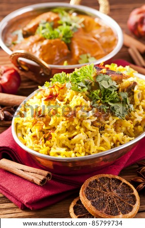 Indian meal with biryani and  curry - stock photo