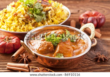 Indian meal with curry and biryani - stock photo