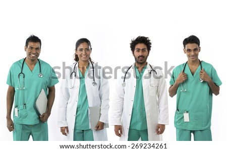 Indian medical team standing. Isolated on white background. - stock photo