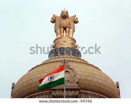 Indian National Emblem & Flag, - stock photo