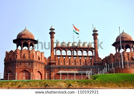 Indian national flag unfurled at Red Fort at Delhi, India - stock photo
