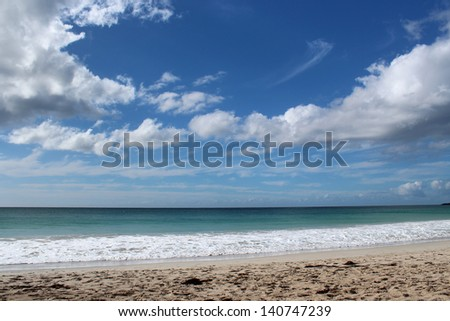 Indian Ocean at Bunker's Bay south western Australia on a cloudy afternoon n early winter. - stock photo