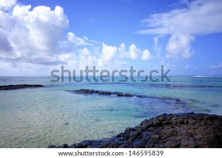 Indian Ocean at the beach of Mauritius, Belle Mare. - stock photo