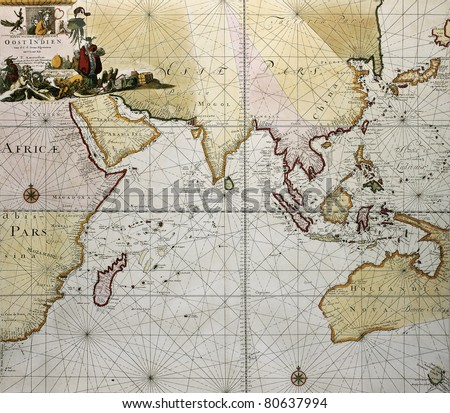 Indian ocean old map, southern Asia, eastern Africa and west Australia. Created by Hendrick Doncker, published in Amsterdam, 1705 - stock photo