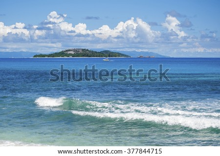 Indian Ocean, Seychelles. Shooting on a sunny clear day. - stock photo