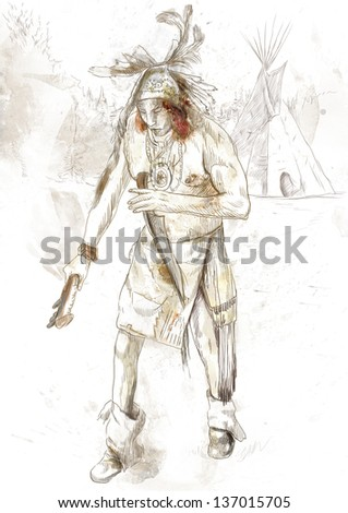 Indian on the warpath (dug battle-axe) /// A hand drawn illustration - full sized hand drawing. - stock photo