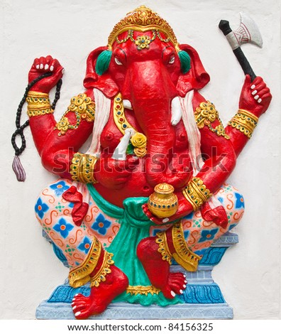 Indian or Hindu ganesha God Named Dhundhi Ganapati at temple in thailand ;The conviction will be used hand to apply to the Lord for get the wishes. - stock photo