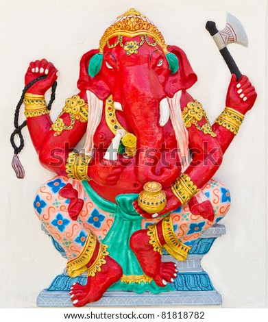 Indian or Hindu God Named Dhundhi Ganapati at temple in thailand - stock photo