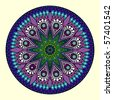 Indian ornament, kaleidoscopic floral pattern, mandala. Vector version is in my portfolio. - stock photo