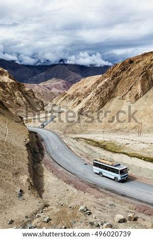 Indian passenger bus on NH-1 (Srinagar Leh national highway) in Himalayas. Ladakh, India