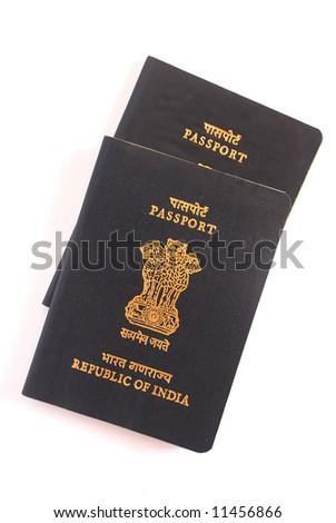 indian passport, legal travel document - stock photo
