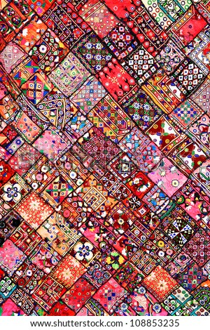Indian patchwork carpet in Rajasthan, Asia - stock photo