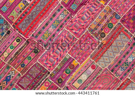 Indian patchwork carpet in Rajasthan, Asia . Close up - stock photo