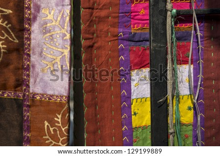 Indian patchwork carpets in Rajasthan, India, Asia - stock photo