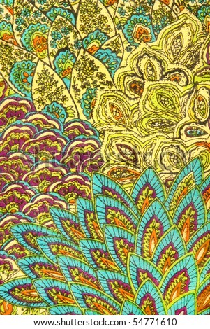 Indian pattern on fabric. - stock photo