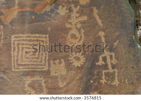 Indian Petroglyphs at Montezuma Castle - stock photo