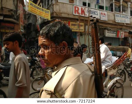 Indian policeman - stock photo