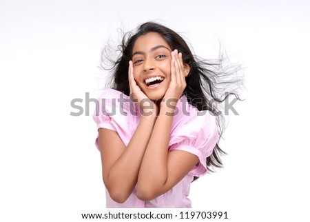 Indian pretty girl with surprising gesture - stock photo