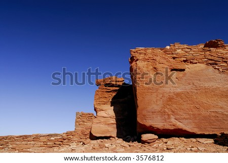 Indian Pueblo ruins at Wupatki National Monument - stock photo