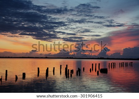 Indian River at Sunrise in Cocoa, Florida.