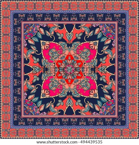 Indian Rug. Oriental Scarf With Ornamental Border. Lovely Tablecloth.  Carpet. Ethnic Bandana