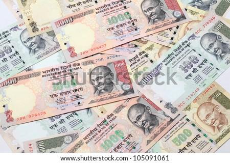 Indian Rupee bank notes - stock photo