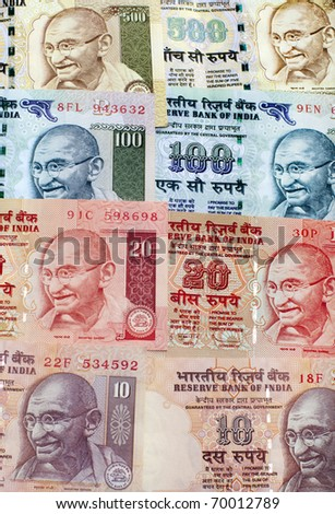 Indian Rupee bank notes background - stock photo