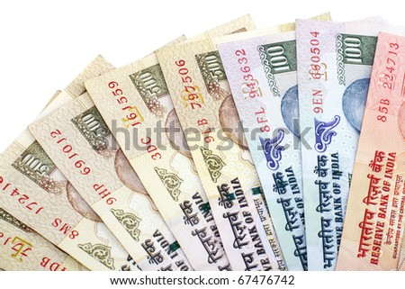Indian Rupee bank notes on white background - stock photo