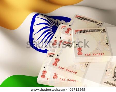 Indian rupee banknote bundles on textile textured Indian flag. 3d illustration. - stock photo