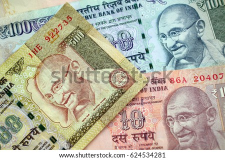 Indian rupee banknote cash background
