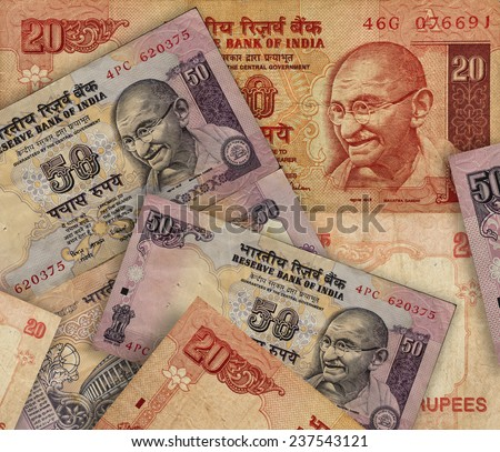 Indian rupee banknotes background - stock photo