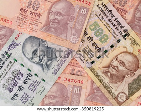 Indian rupee banknotes background, India money closeup - stock photo